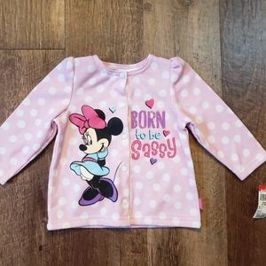 NEW!!! Girl's Minnie Mouse button up top Sz.6-9mo